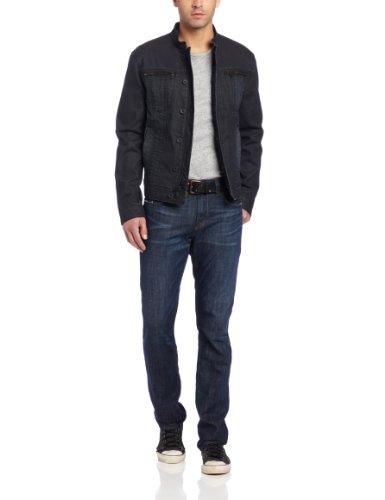 John Varvatos Men's Band Collar Denim Style Jacket