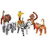 6 Inflatable ZOO ANIMALS/JUNGLE/Safari PARTY DECOR/Elephant/TIGER/LION/ZEBRA/MONKEY/GIRAFFE/INFLATES/DECORATIONS/PARTY FAVORS