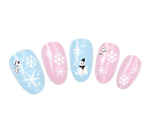 Nicedeco 20 PCS OF christmas snowman & snowflakes nail stickers/tattoo/deacl water transfer s decals shiney silver script (Snowman Make Up)