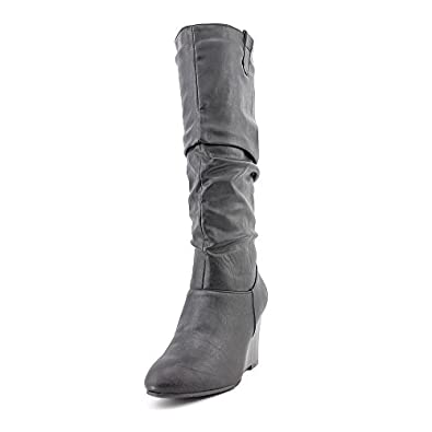 Rampage Swift 1 Womens Size 9.5 Black Wedges Fabric Fashion - Knee-High Boots