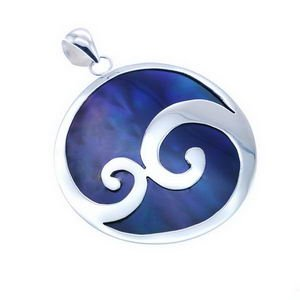Shell and Sterling Silver Round Pendant