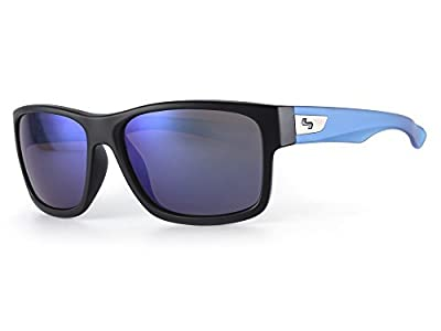 Sundog Default Sunglasses, Matte Black/Cry Blue Frame/Smoke Light Blue Mirror