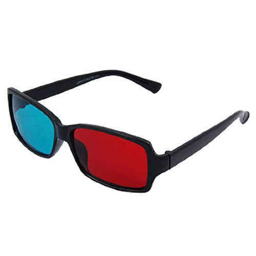 Black Full-rim Red-Cyan Anaglyph 3D Glasses for Movie Game