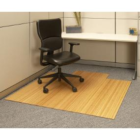 Anji Mountain Bamboo Roll-Up Chairmat with Lip, Natural, 55-Inch by 57-Inch