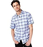 Blue Harbour Pure Cotton Slub Checked Shirt