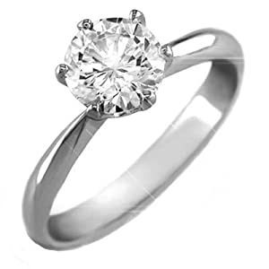 Paris Jewelry Platinum 2 Carat Genuine Round Diamond Solitaire Engagement Ring ( H-I, I1-I2 )