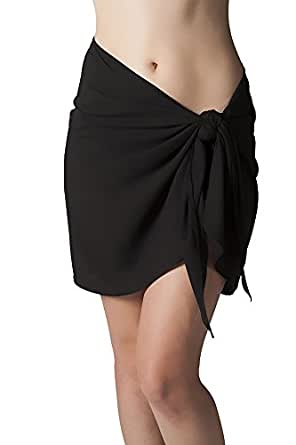 Short Black Swimsuit Sarong Cover Up with Built in Ties