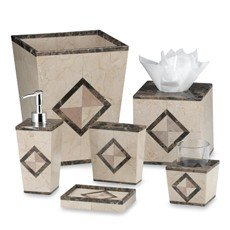 Wamsutta Marble Inlay Tumbler Set Cup & Holder