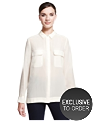 Autograph Pure Silk Satin Trim Blouse