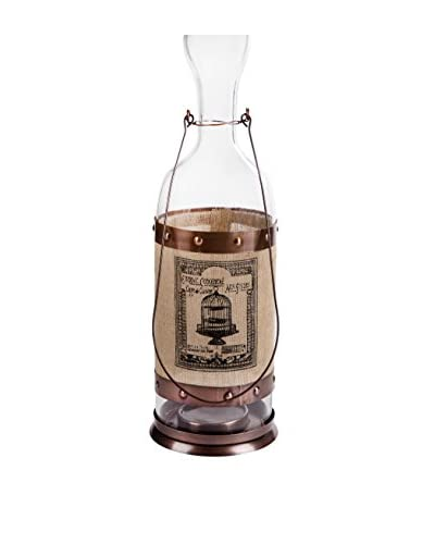 Home Essentials Biscay Lantern Copper, Copper/Tan/Black