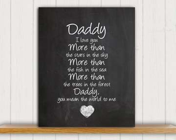 """Daddy Poem Chalkboard Print by Ocean Drop Photography (8x10"""") - Thoughtful Gift for Dad & the Perfect Father's Day Gift - Beautiful Typography Artwork - Ready to Hang, Hanger Included"""