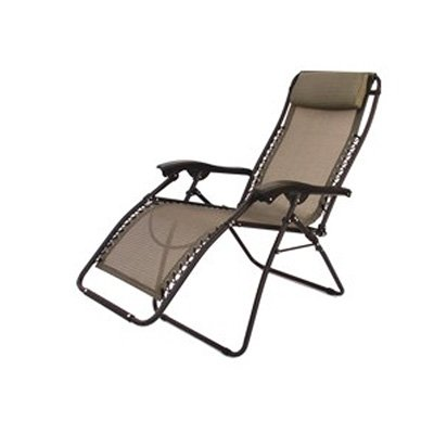 Superieur Folding Camping XL Recliner Chair Beige RV Patio Chair (Heavy Duty 300lbs  Support)