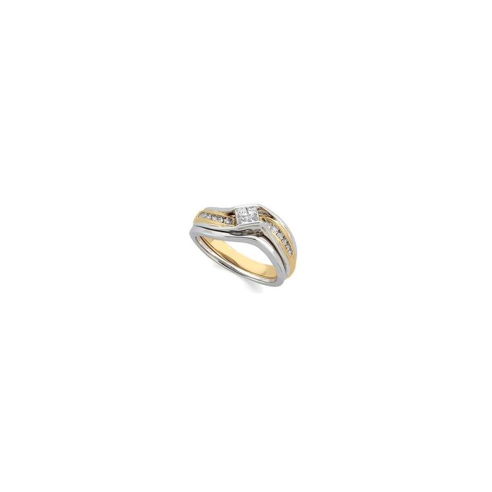 14k Two Tone Gold Diamond Bridal Engagement Ring