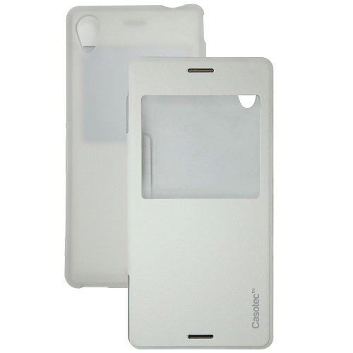 Casotec Premium Caller-id Flip Case Cover for Sony Xperia T3 - White  available at amazon for Rs.175