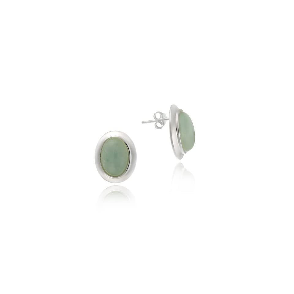 Sterling Silver Bold post earrings with green Dyed Jade stones
