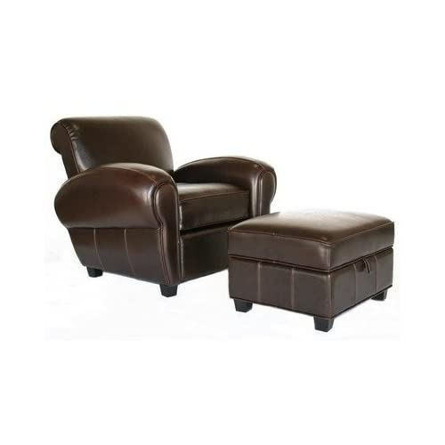 A 136 Full Leather Reclining Club Chair + Ottoman Interiors Furniture Full Leather Club Chairs