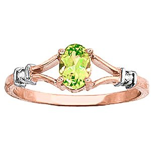 QP Jewellers Natural Diamond & Peridot Ring in 9ct Rose Gold, 0.45ct Oval Cut - 1252R