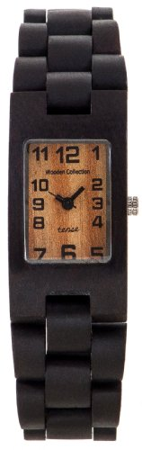 Tense Mens Rectangular Dark Sandalwood Wood Watch G8102D Lf