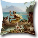 18 X 18 Inches / 45 By 45 Cm Oil Painting Nicholas Chevalier - Race To The Market, Tahiti Pillow Cases,two Sides Is Fit For Kitchen,christmas,home Office,sofa,bf,monther (The Secret Side Of Empty compare prices)