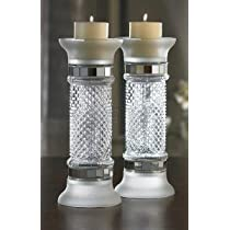 Accents by Jay  Glass Candle Holder with Silver Accents 13-Inch Set of 2