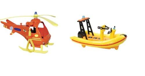 2 Fahrzeuge des Feuerwehrmannes Sams Push Along – Neptun-Boot Und Toms Hubschrauber als Geschenk