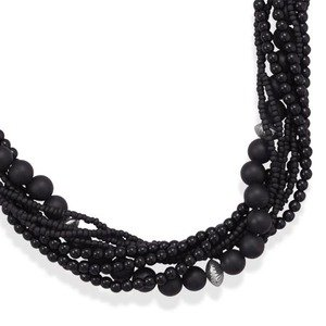 Eight Strand Black Onyx with Seed Bead Necklace Sterling Silver Adjustable Length