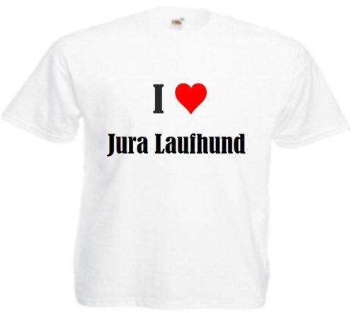 """Herren T-Shirt """"I Love Jura Laufhund""""Größe""""M""""Farbe""""Weiss""""Druck""""Schwarz"""
