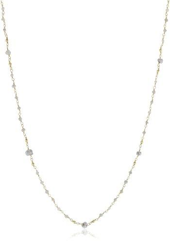 Mizuki 14k Wrapped Chain Necklace Gray Rough Diamond, 18
