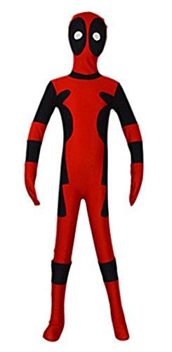 Seeksmile Unisex Lycra Spandex Zentai Halloween Cosplay Costumes Deadpool (Medium, Kid'S)