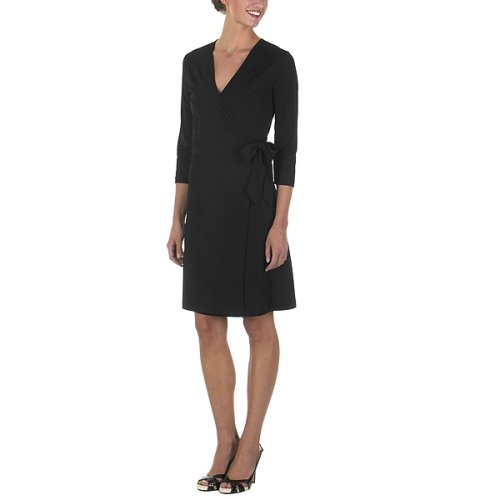 Pleated Wrap Dress Ebony by Isaac Mizrahi