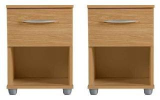Pair Bedside Tables Beech 1 Drawer Bedside Cabinet Silver Handle *Brand New*