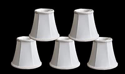 """Urbanest 1100465b Set of 5 Chandelier Lamp Shades, 3x5x4.5"""", Bell, Clip On, Off White"""