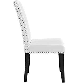 Modway Parcel Modern Upholstered Vinyl Parsons Dining Chair With Polished Nailhead Trim And Wood Legs In White