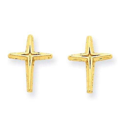 14k Polished Cross Post Earrings