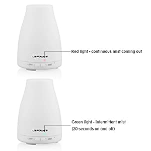 Essential Oil Diffuser, URPOWER� 2nd Version 100ml Aroma Essential Oil Cool Mist Humidifier with Adjustable Mist Mode,Waterless Auto Shut-off and 7