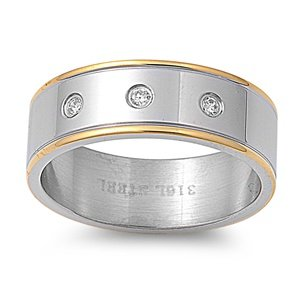 8MM (1ctw) Three 3 CZ Stainless Steel 2-Tone Gold & Silver Band Ring Size 7-13 (11)
