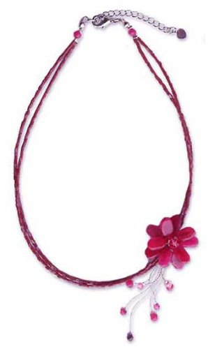 Quartzite and garnet choker, 'Scarlet Floral Chic' 1.4