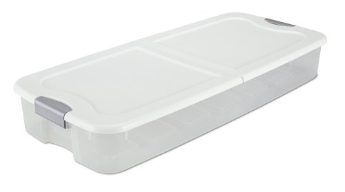 Sterilite 19968004 74-Quart Ultra Underbed Box See-Through with White Lid and Titanium Latches, Clear, 4-Pack