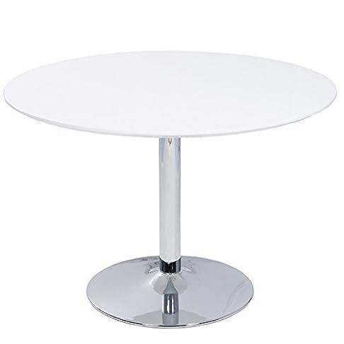 Tavolo da pranzo di Lisbona tavolo da pranzo bianco lucido cromato rotondo Ø 110cm
