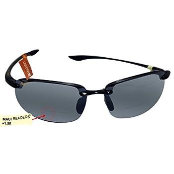 b4a637cf8b8 Maui Jim - (Readers) Ho okipa Universal Fit - Gloss Black Frame-+1.50  Neutral Grey Polarized Lenses