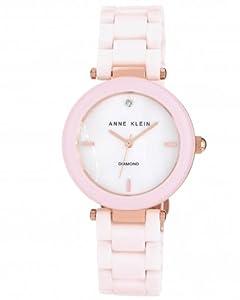 Anne Klein Women's AK/1018RGLP  Diamond Dial Rose Gold-Tone Light Pink Ceramic Bracelet Watch