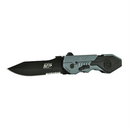 S&W M&P, Gun Metal Aluminum Handle, Drop Pt, Black Bl, Combo - Smith & Wesson Knives
