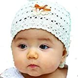 LadyMYP©Handmade Knitted cap Baby cap Childrens Hats 100 Wool White Hat with orange Ribbon