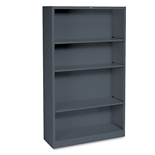 HON Metal Bookcase, 4 Shelves, 34-1/2 W by 12-5/8 D by 59 H, Charcoal 48