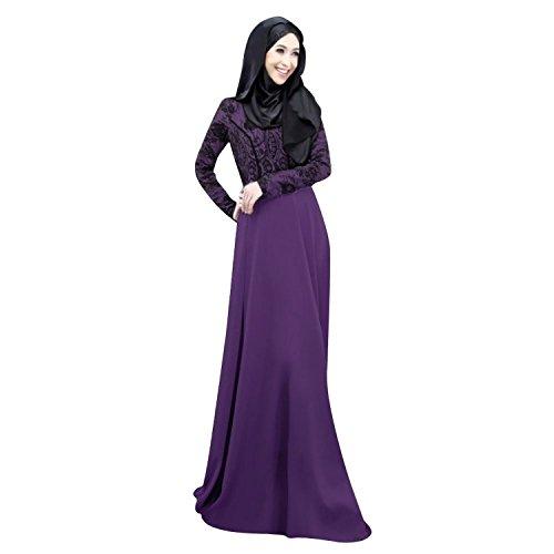 Aro Lora Women's Autumn Kaftan Abaya Islamic Muslim Women Long Dress Large Purple