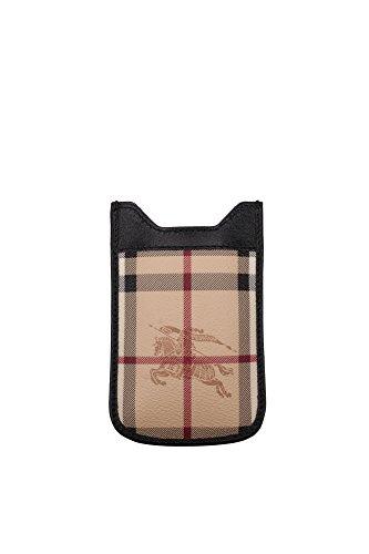 Porta iPhone Burberry Uomo Tessuto Nero e Check Classic Burberry 3767972 Nero 8.5x12.5 cmEU