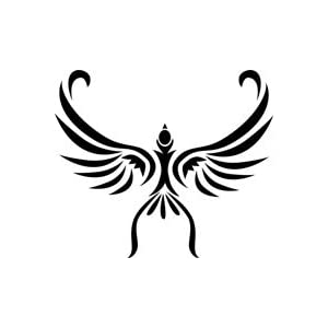 Soaring Bird Tribal Tattoo Stencil - 36 inch (at longest point) - 14