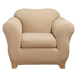 Sure Fit STRETCH HONEYCOMB 2PC - Chair Slipcover  - Cream (SF40477)