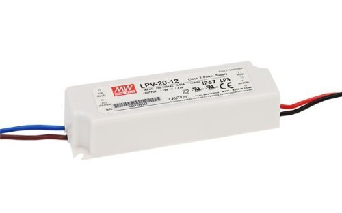 Mean Well Lpv-20-12, Led Driver, 90-264 Vac Input, 1.67A, 12 Vdc Output, 20W