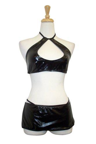 Exposed by Magic Silk Liquid Onyx Halter/Mini Skirt Set, S/M, Black